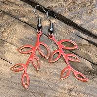 Leaf branch earrings. Hand enamelled leaves. Sterling Silver upgrade available.