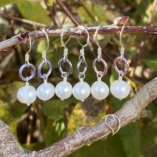 Freshwater Pearl and Aluminium Hoop Earrings. Sterling Silver
