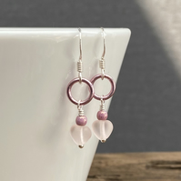Pink Heart & Aluminium Ring Earrings. Sterling Silver.