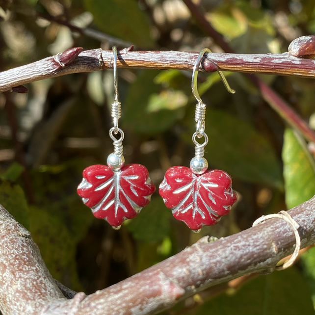 Deep Red Leaf & Sterling Silver Drop Earrings