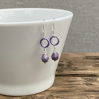 Lilac Faceted Bead & Aluminium Ring Earrings. Sterling Silver.