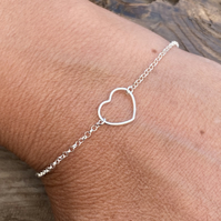 Sterling Silver Open Heart Charm Bracelet. Made to Order.