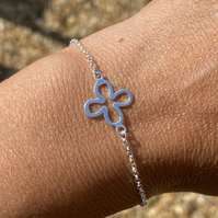Sterling Silver Flower Charm Bracelet. Made to Order.