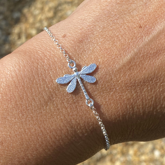 Sterling Silver Dragonfly Charm Bracelet. Made to Order.