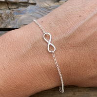 Sterling Silver Infinity Charm Bracelet. Made to Order.