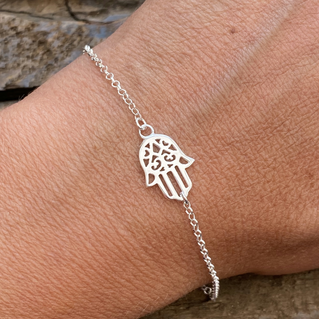 Sterling Silver Hamsa Hand Charm Bracelet. Made to Order.