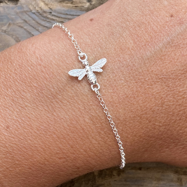 Sterling Silver Bee Charm Bracelet. Bumble Bee. Honey Bee. Made to Order.
