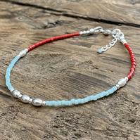 Turquoise & Red Miyuki and Sterling Silver Bracelet. Minimalist Bracelet.