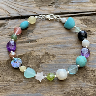 Mixed Semi Precious & Sterling Silver Bracelet