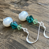 Swarovski Crystal & Freshwater Pearl Earrings. Sterling Silver.