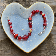 Red Mix Beads & Sterling Silver Bracelet
