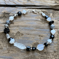 Black and White Mix Beads & Sterling Silver Bracelet