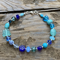 Blue Mix Beads & Sterling Silver Bracelet