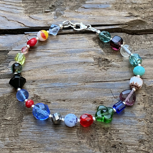Multi Mix Beads & Sterling Silver Bracelet