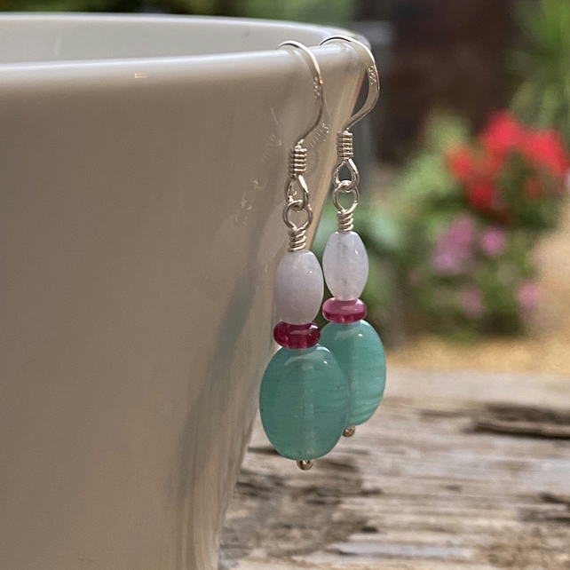 Turquoise mix bead earrings. Sterling Silver.