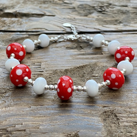 Red And White Lampwork Glass & Sterling Silver Bracelet.
