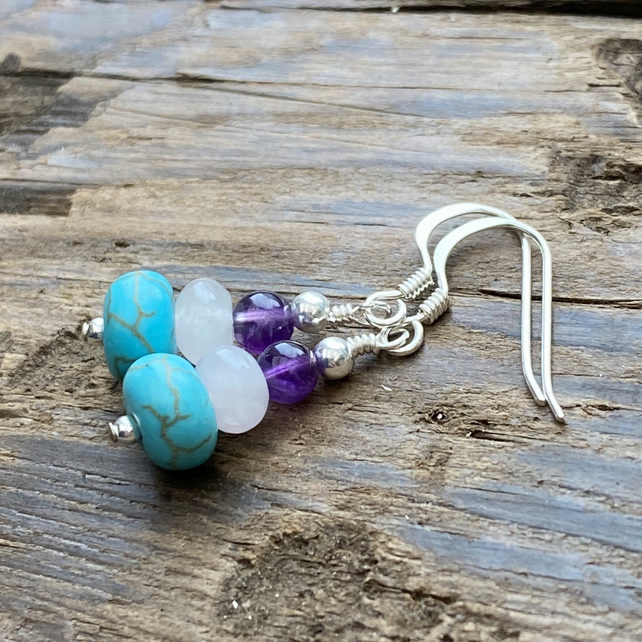 Turquoise, Rose Quartz & Amethyst bead earrings. Sterling Silver.