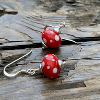 Red Spotty Lampwork & Sterling Silver Earrings