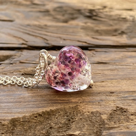 Purple pink & silver glass heart necklace