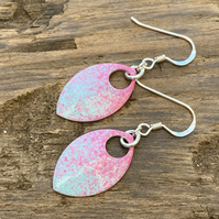 Pink and turquoise enamel scale earrings. Sterling silver.
