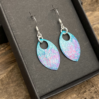 Turquoise, pink and purple enamel scale earrings. Sterling silver.