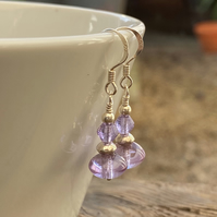 Lilac and silver beaded drop earrings. Sterling Silver.