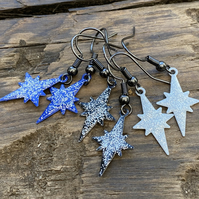 North Star Enamel Earrings. Sterling Silver upgrade available.