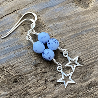 Speckled blue & sterling silver star earrings.