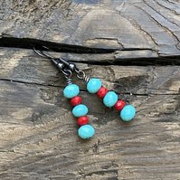 Turquoise & Red Crystal Earrings