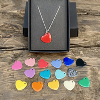 Bright enamel heart necklace. Sterling silver necklace