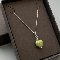 Green Howlite heart & sterling silver pendant or necklace