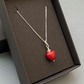 Red Howlite heart & sterling silver pendant or necklace