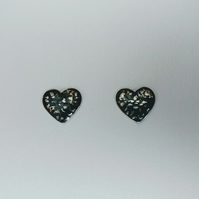 Sterling Silver Blackwave Heart Domed Ear Studs, Oxidised