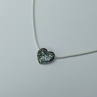 """Sterling Silver Blackwave Small Heart Pendant on 16"""" Snake Chain, Oxidised"""