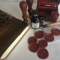Self adhesive Traditional Wax Seals in wine red, pack of ten ready to use! Choos
