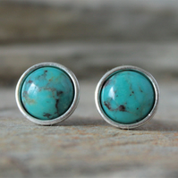 Turquoise Sterling Silver Stud Earrings 6mm