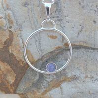 Natural Tanzanite Sterling Silver Ring Pendant, December Birthstone Pendant