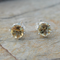 Tiny 4mm Citrine Sterling Silver Stud Earrings, November Birthstone.