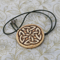 Celtic knot work wooden necklace