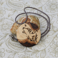 Howling Wolf & Moon wooden necklace