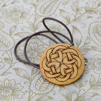 Celtic circle knotwork wooden necklace