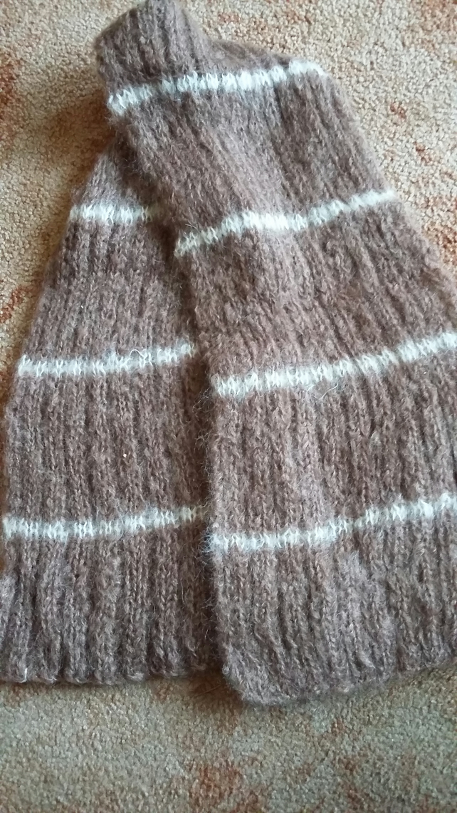 Light Brown Mohair Scarf, hand knitted
