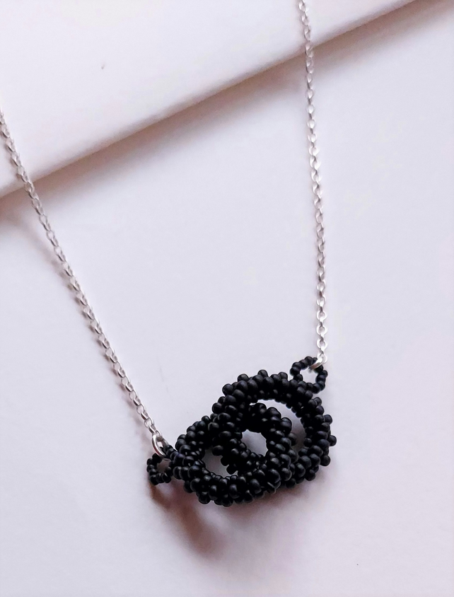 Block Colour Double Beaded loop Necklace in Black