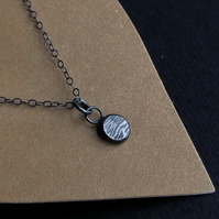 Oxidised recycled silver pendant with hammered detail on oxidised silver chain.