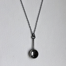 Oxidised sterling silver spoon pendant with hammered detail.