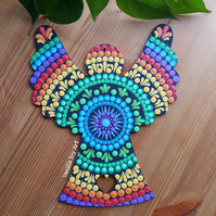 'Reverse Rainbow' Large Wooden Friendship Angel