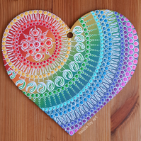 'White Rainbow' Large Wooden Heart