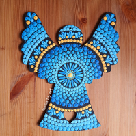 'Blues' Large Wooden Friendship Angel
