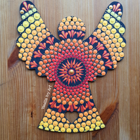 'Sunset' Large Wooden Friendship Angel