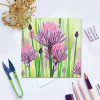 Purple Chives Card - Summer, Floral, Allium, Herb